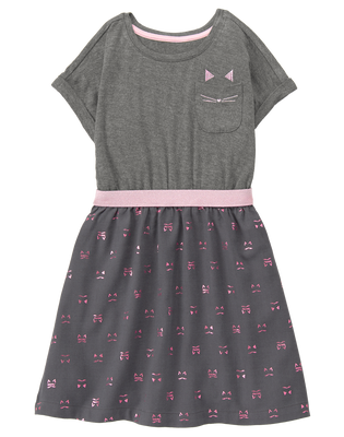 NWT Gymboree Tails of the City Pink Cat Kitty Dress SZ 12 Girl Outlet